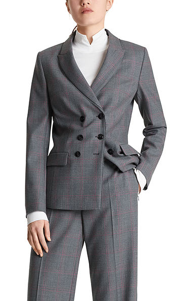 Blazer with woven checked pattern