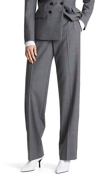 Pants with woven checked pattern
