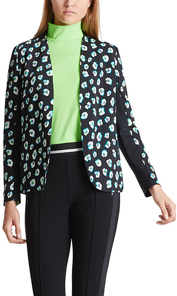 Short jacket with leopard-flower pattern