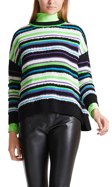 Pull-over en maille multicolore