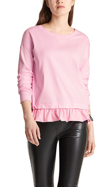 Ribbed jersey top with gathering
