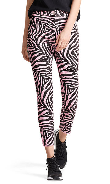 Cropped jeans with zebra pattern