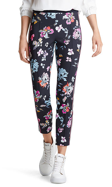 Stretch pants with flowers