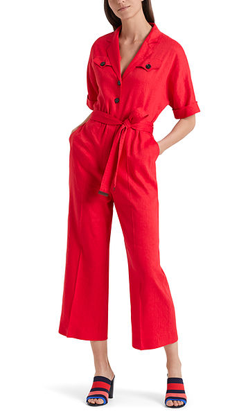 Linen overall with safari details