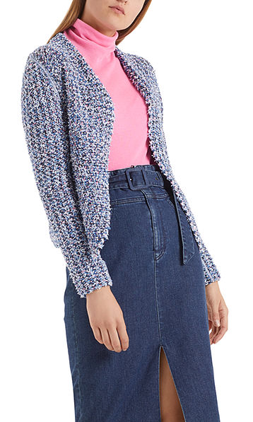 Short knitted jacket with glitter effect
