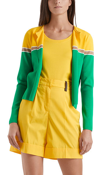 Colour-block knitted jacket