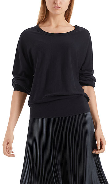 Long sweater with pure new wool and silk