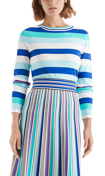 Fine-knit sweater with block stripes