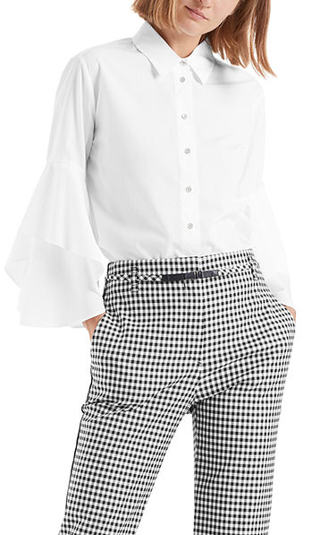Flounced blouse in cotton
