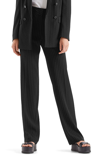Wide cut pants with pinstripes