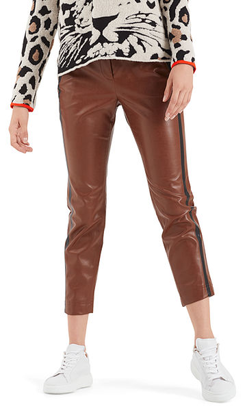 Faux leather pants, contrasting stripes