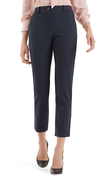 Cropped pants in cotton blend