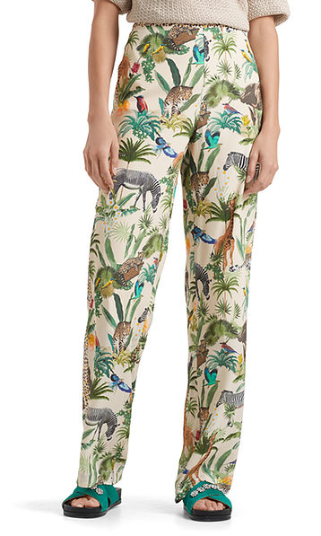Printed pants in viscose and silk