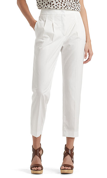 Pleated-front pants in cotton