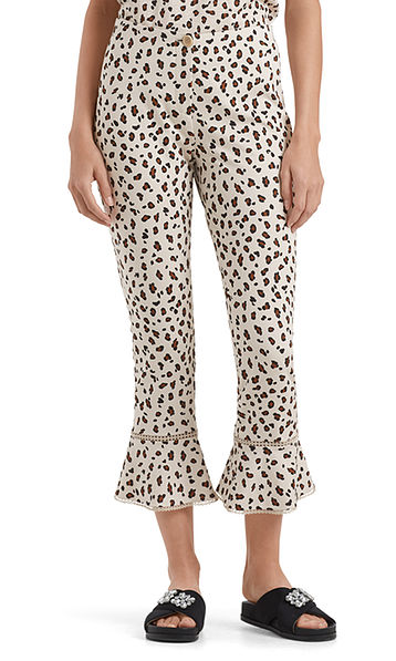 Flared jersey pants with leopard pattern
