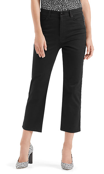 Jeans noir à taille haute