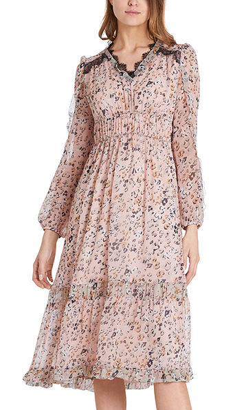 Kleid mit Blüten-Leo-Print