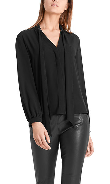 Flowing bow-neck blouse
