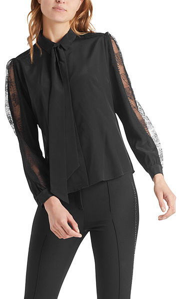 Silk bow neck blouse with lace