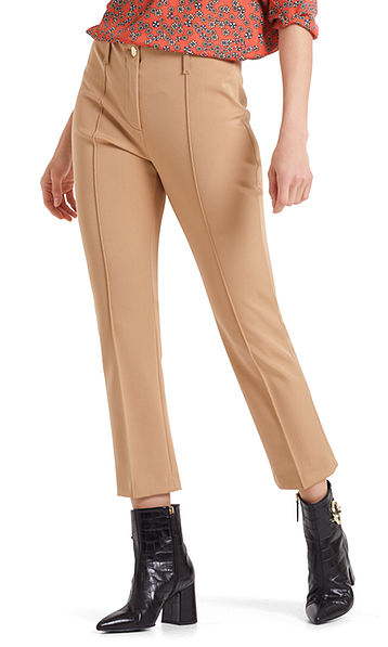 Stretch pants with elegant sheen