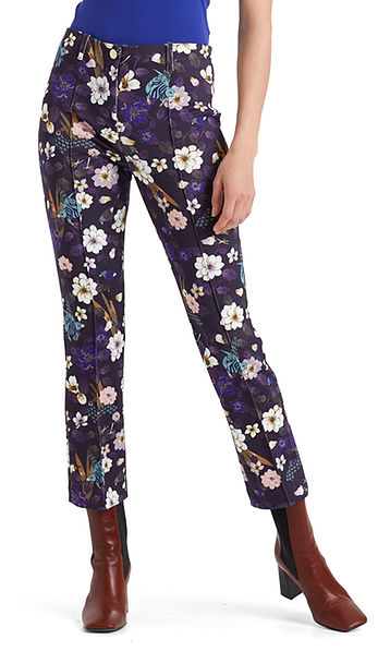 Pants with flower and bird print