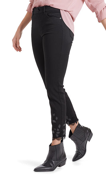 Jeans with patent appliqué
