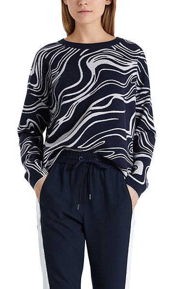 Pull-over maille jacquard avec cachemire