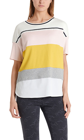 Cotton T-shirt with colour blocking