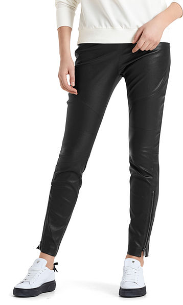 Leather pants with zip details