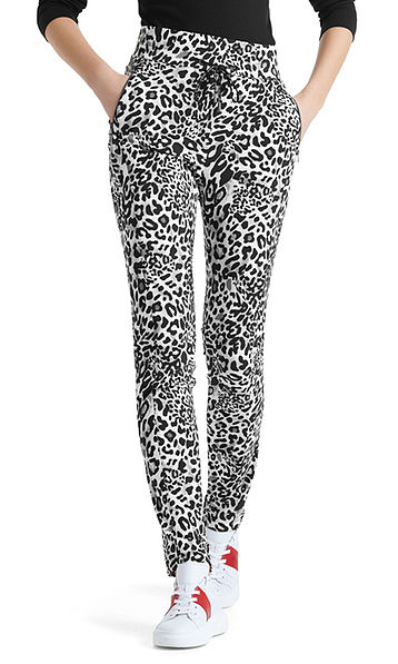 Stretch pants with leopard skin pattern