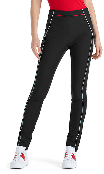 Stretch pants with colourful piping
