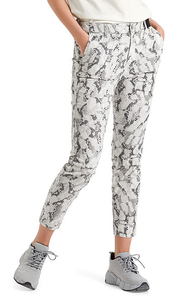 Fine cord pants with snakeskin pattern