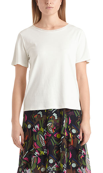 Cotton T-shirt with silk edging
