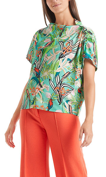 Floral top with gathered trim on sleeve