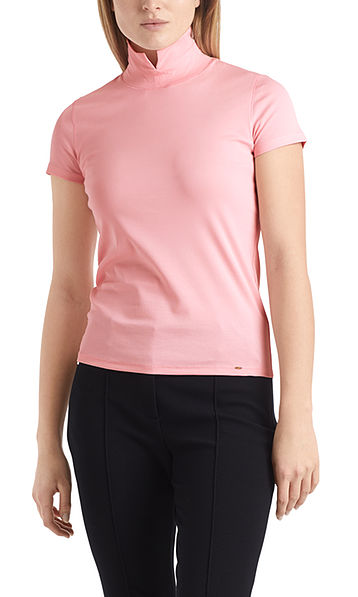 Stand-up collar T-shirt in cotton