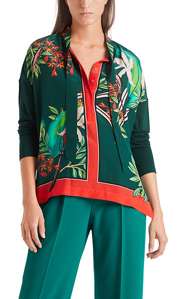 Printed blouse-style top with silk
