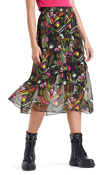 Swing skirt with jungle print