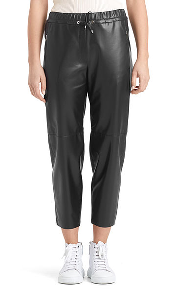 Voluminous pants in faux nappa leather
