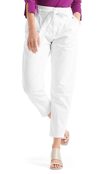 White-Denim-Hose mit Volumen