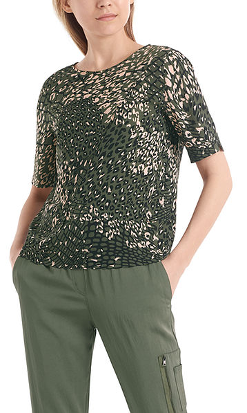 Blouse-style top with mesh leopard print