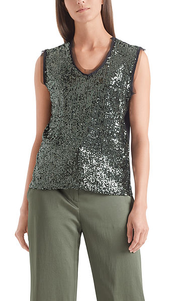 Top with sequin embroidery