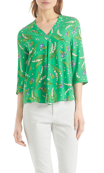 Blouse shirt with lily of the valley print