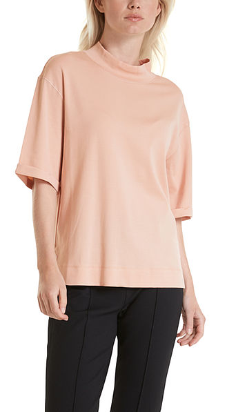 Cotton top with stand-up collar