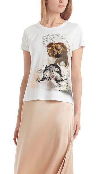 Embroidered T-shirt with lion print