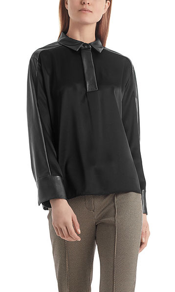Blouse-style top with faux nappa