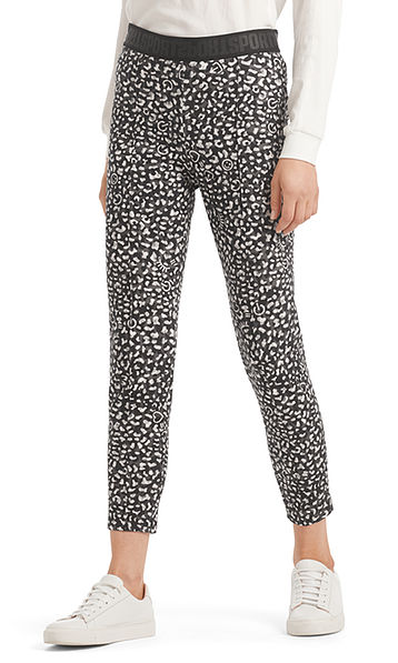 Pants with icon and leopard print